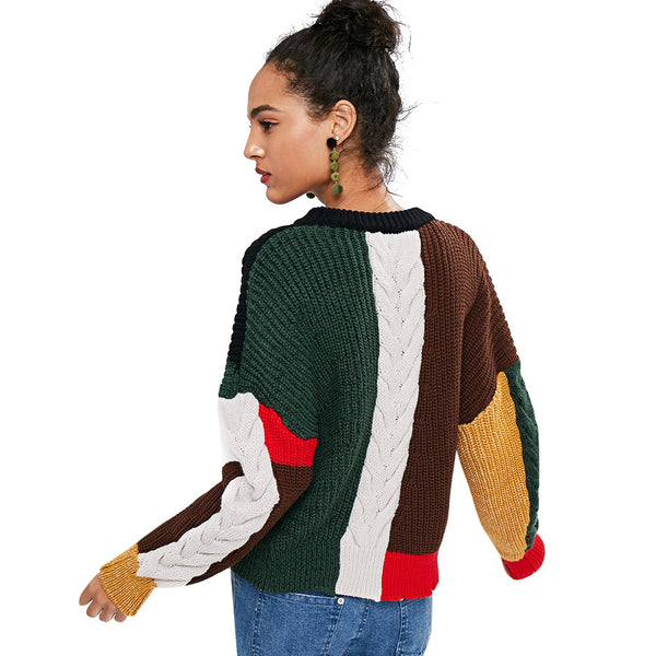 Slit Cable Knit Color Blocking Sweater
