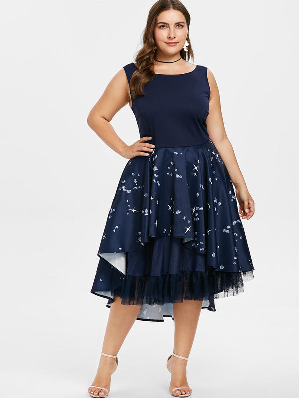 Plus Size Ruffle Rhinestone Pattern Dress