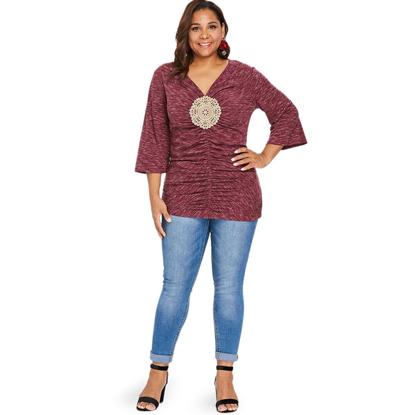 Plus Size Marled Three Quarter Sleeve T-shirt