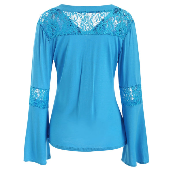Lace Insert Bell Sleeves T-shirt