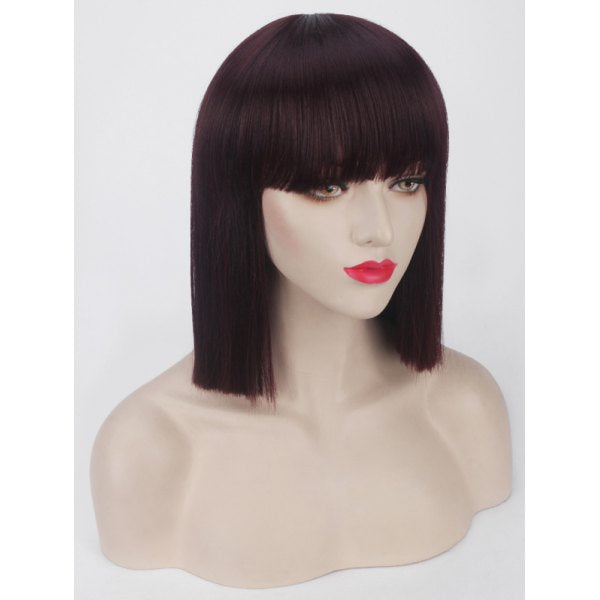 Short Full Bang Blunt Straight Bob Synthetic Party Wig