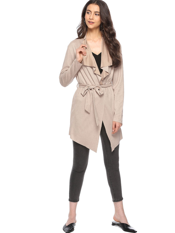 Asymmetrical Faux Suede Coat with Belt