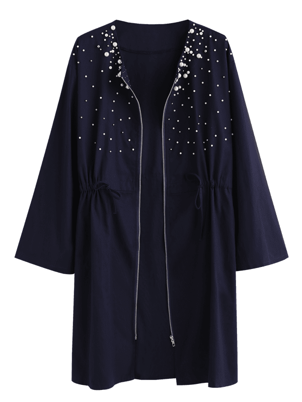 Plus Size Zip Up Beaded Coat