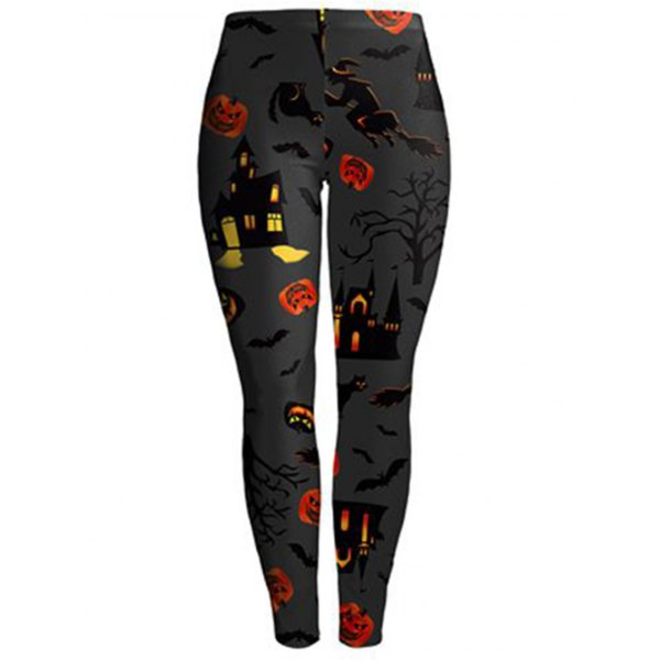 New Halloween Fashion 3D Digital Print Stretchy Leggings Multi-Colored S-XL