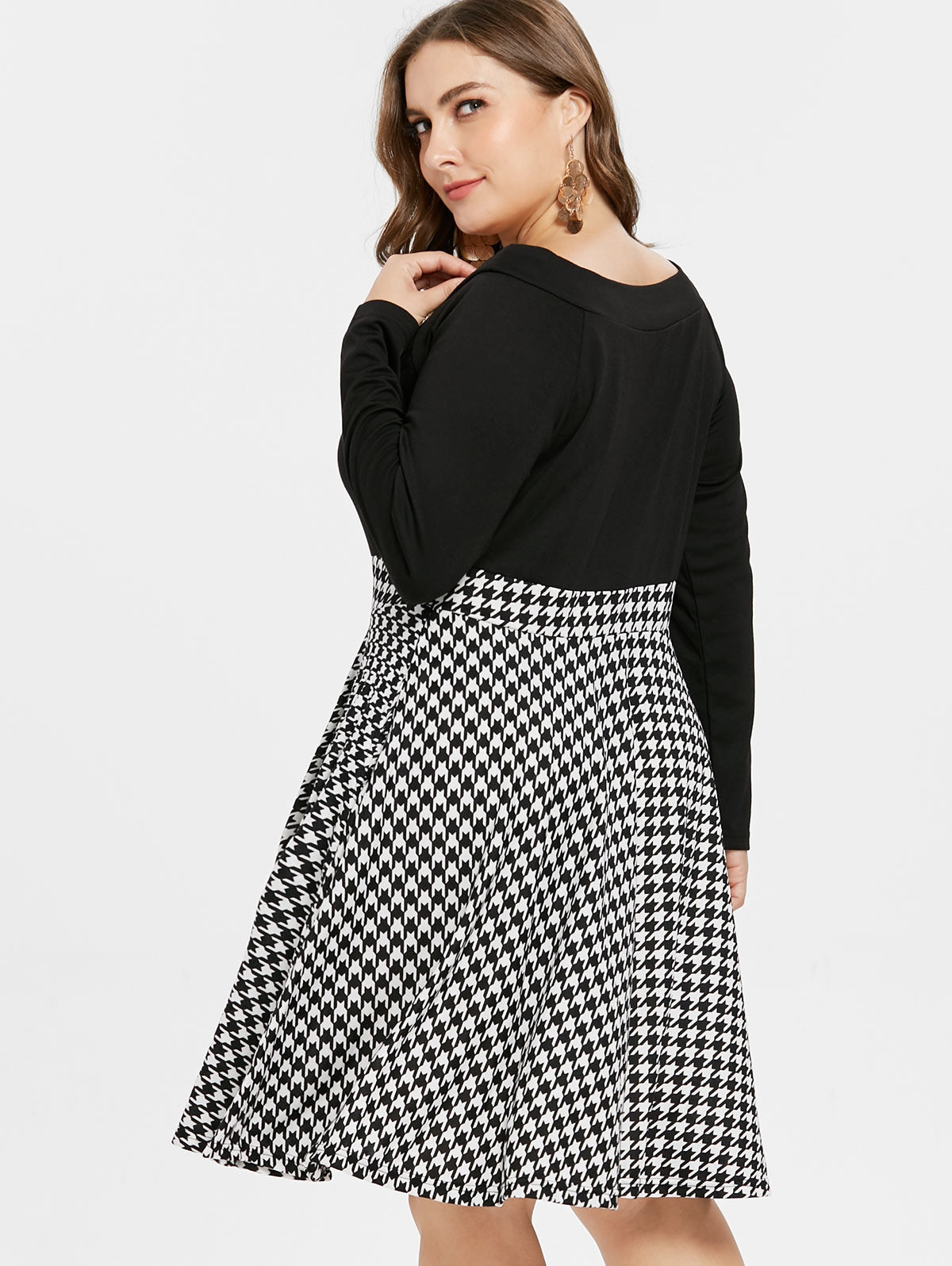 b7933bdd0be Houndstooth Pattern Plus Size Long Sleeve Dress