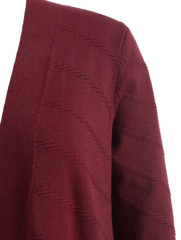 Plus Size Front Pockets Collarless Cardigan