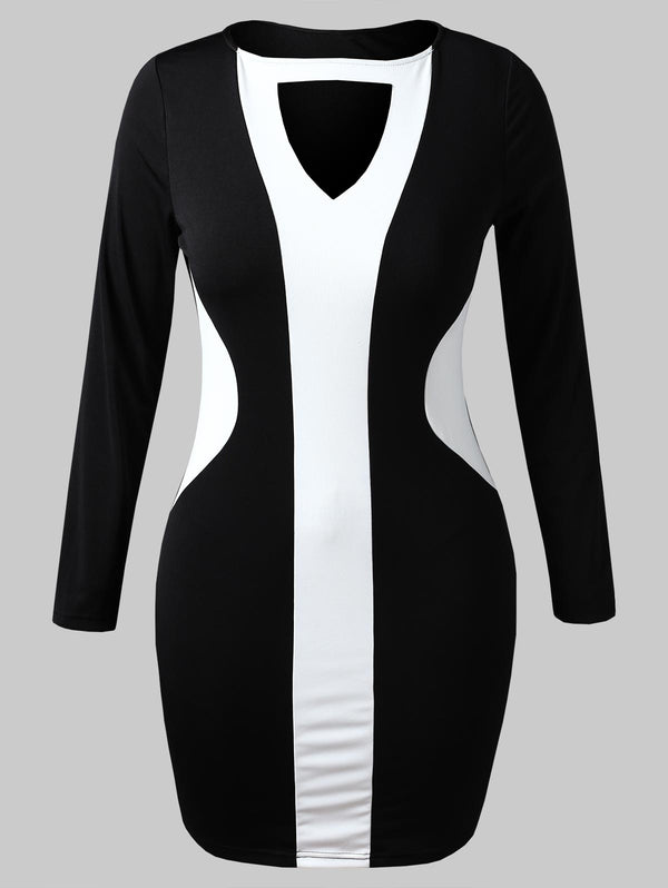 Plus Size Keyhole Two Tone Bodycon Dress