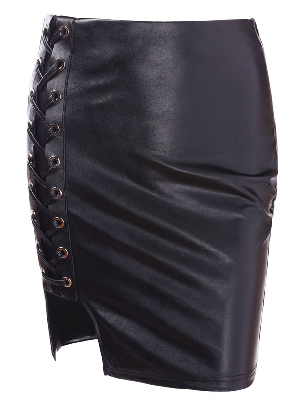 High Waist Faux Leather Lace Up Skirt