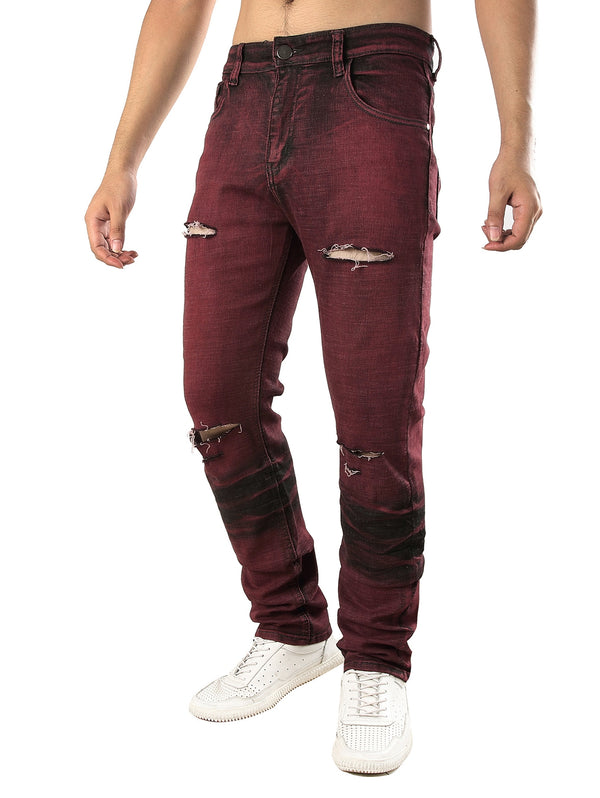 Color Wash Stretchy Ripped Jeans