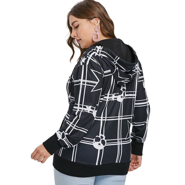 Plus Size Star and Skull Print Zipper Hoodie