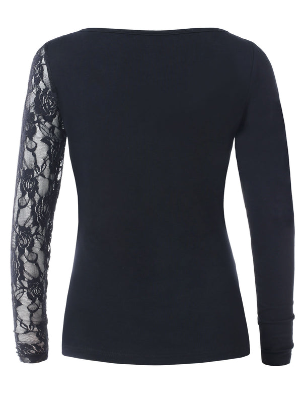Long Sleeves Lace Panel T-shirt