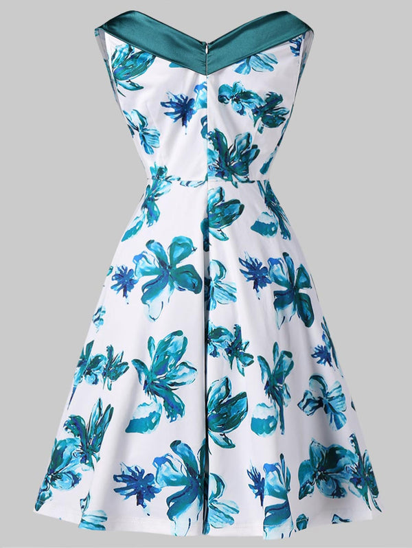Crinkle Bust Floral Print Sleeveless Swing Dress
