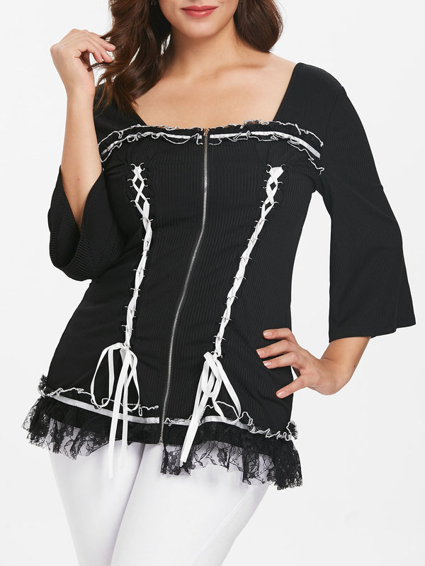 Plus Size Lace Panel Ribbed Top