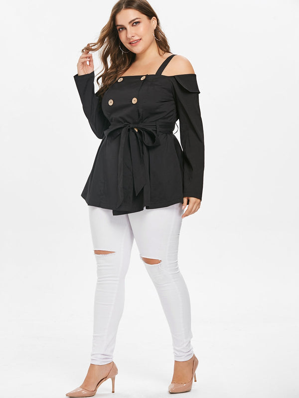 Plus Size Cold Shoulder Double Breasted Blouse