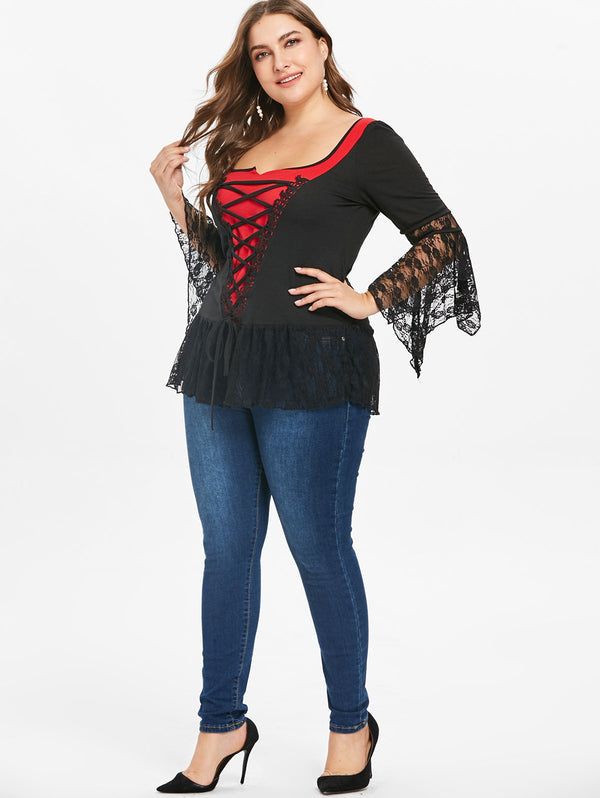 Plus Size Lace Detail Color Block T-shirt