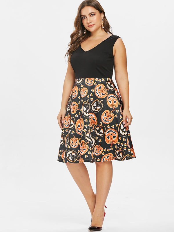 Plus Size Sleeveless Vintage Halloween Dress