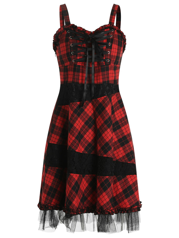 Lace Up Plaid Strap Dress