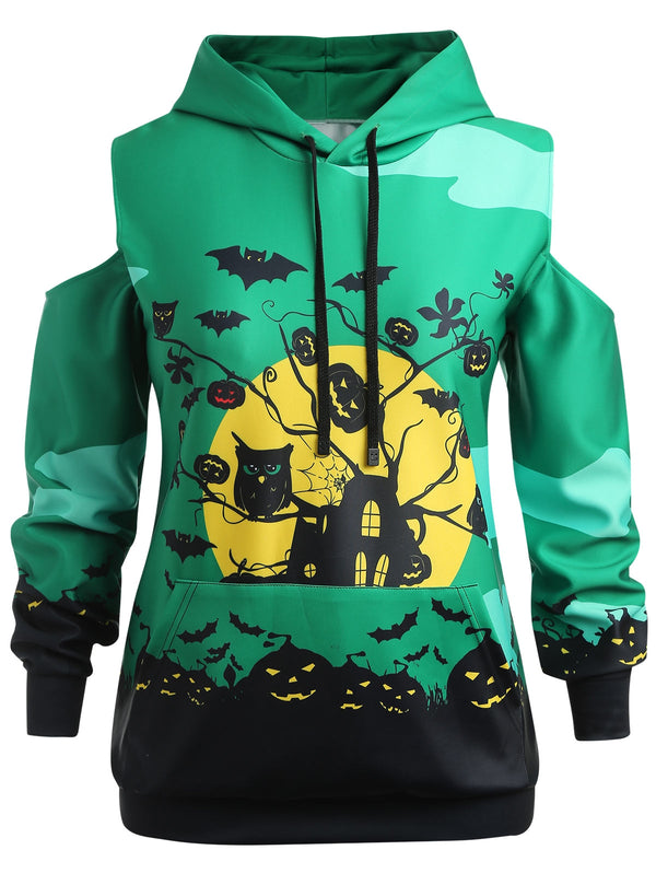 Plus Size Halloween Bat Pattern Hoodie