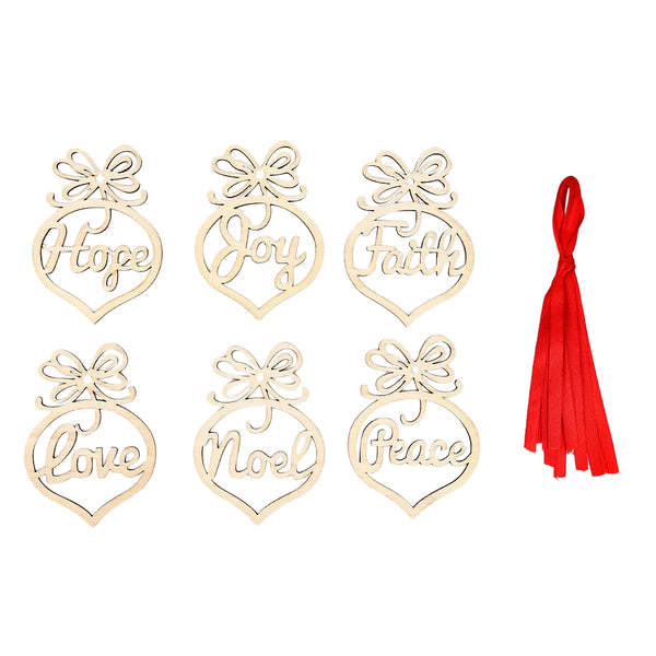 6PCS Wooden Christmas Ornaments Crafts Laser Hollowed Pendants