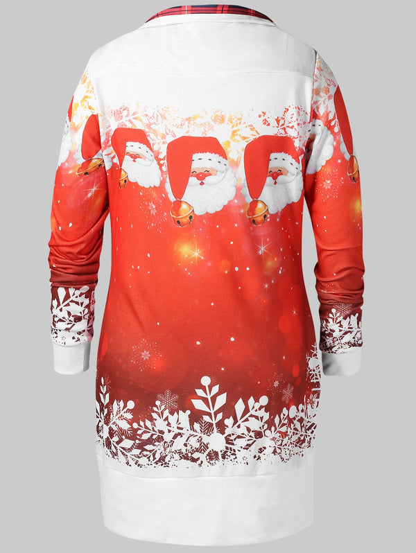 Christmas Plus Size Santa Claus Print Sweatshirt