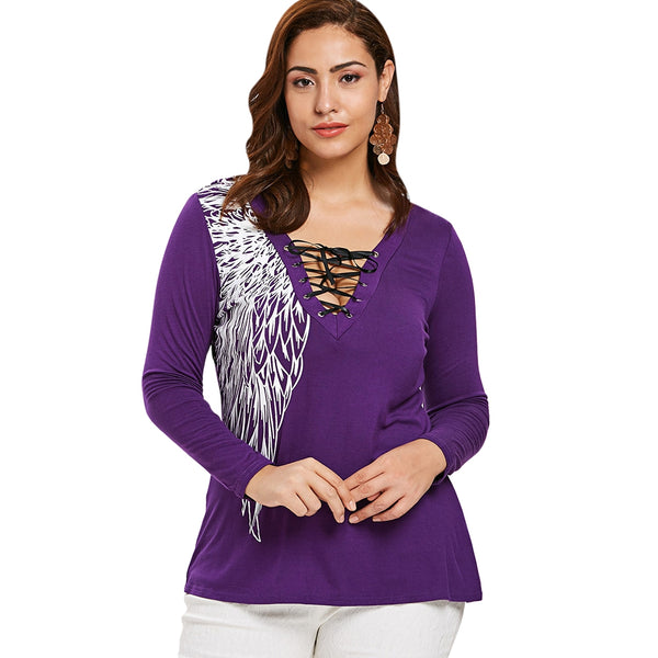 Plus Size Lace Up Printed T-shirt
