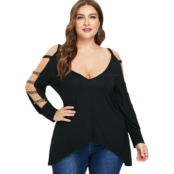Plus Size Plunging Neck Ladder Cut High Low T-shirt