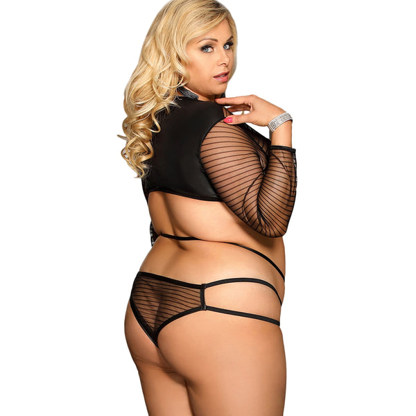 Stripe Sheer Strappy Top Panty Lingerie Set