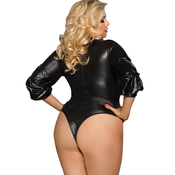 Faux Leather Ruched Sleeve Plus Size Bodysuit