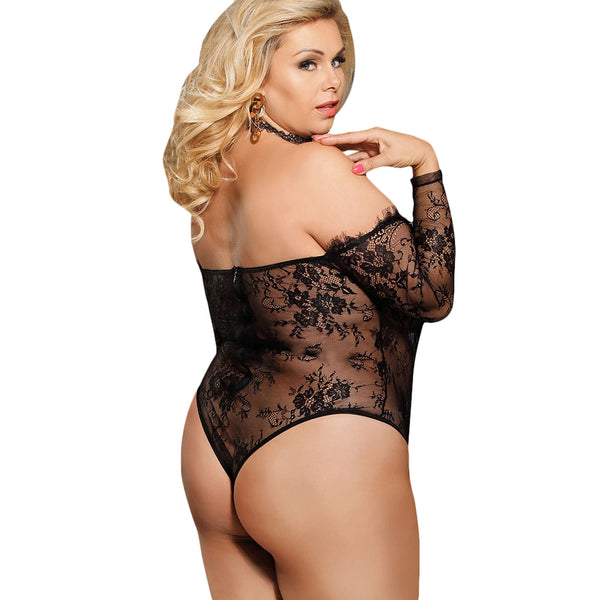 Plus Size Off Shoulder Sheer Lace Teddy