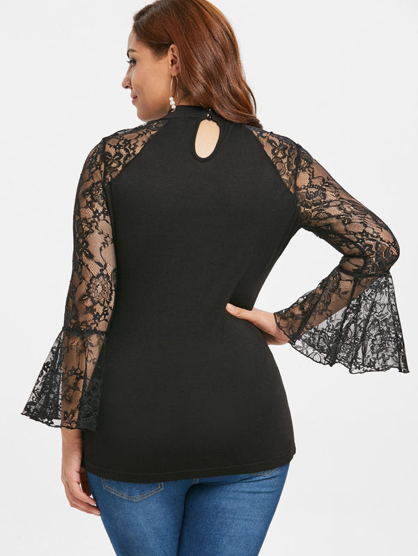 Plus Size Lace Insert Cut Out Lacing T-shirt