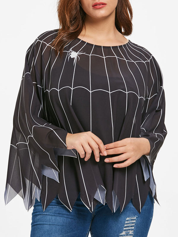 Halloween Plus Size Spider Web Top