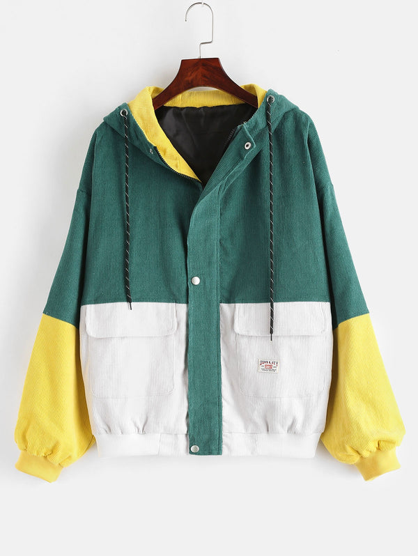 Plus Size Color Block Hooded Jacket