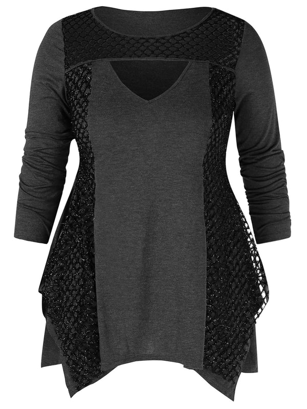 Cut Out Plus Size Asymmetrical T-shirt