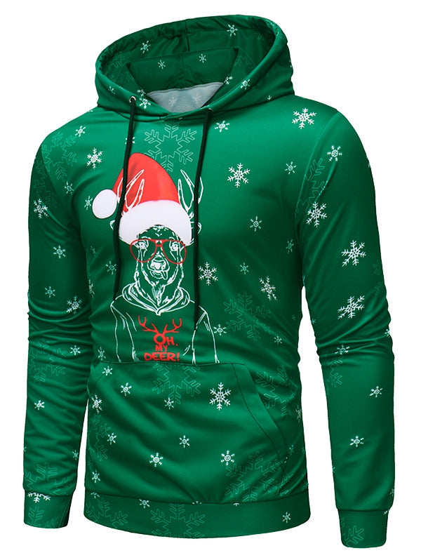Deer with Christmas Cap Print Pullover Hoodie