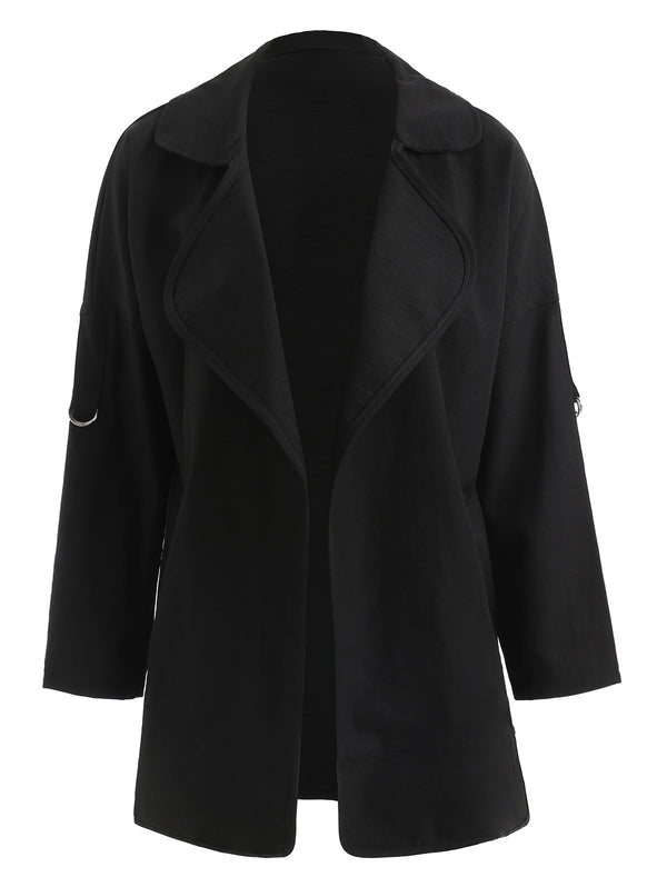 Plus Size Open Front Turn Down Collar Coat