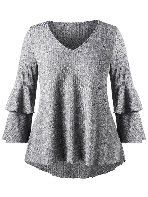 Plus Size Bell Sleeve Ribbed T-shirt