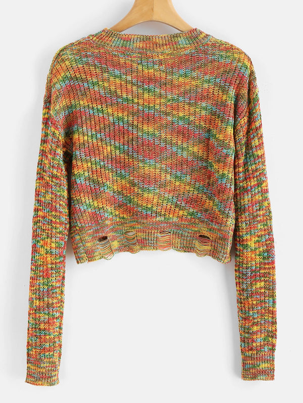 Colorful Ripped Sweater