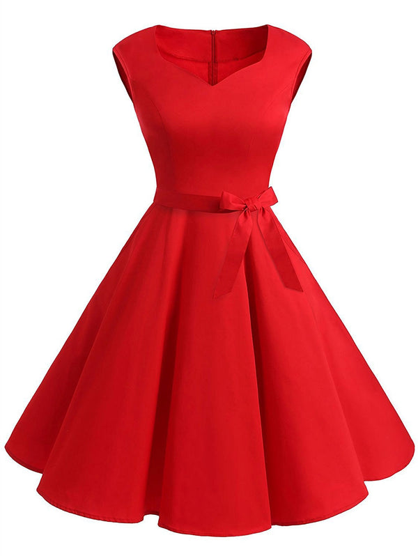 Plus Size Sweetheart Neck Flared Dress
