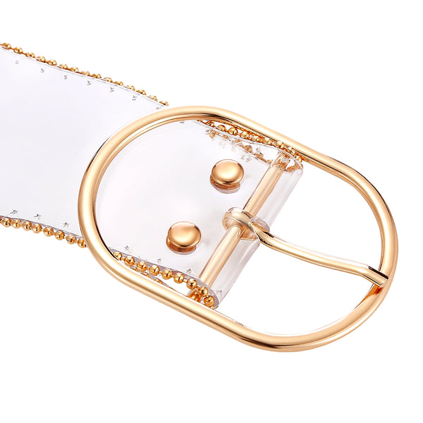 Trendy Transparent PVC Pin Buckle Women Waist Belt