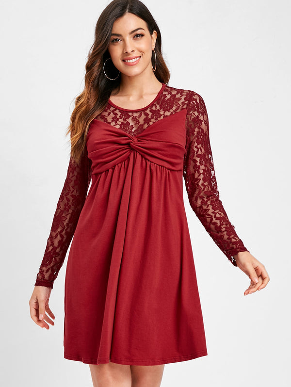 Ruched Bust Long Sleeve Lace Panel Dress