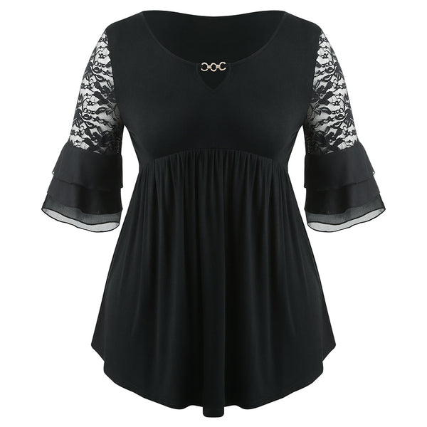 Plus Size Bell Sleeve Lace Panel Asymmetrical Peplum Blouse
