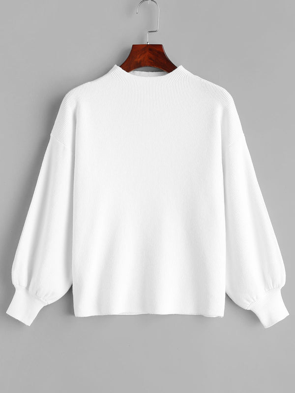 Pullover Plain Lantern Sleeve Sweater