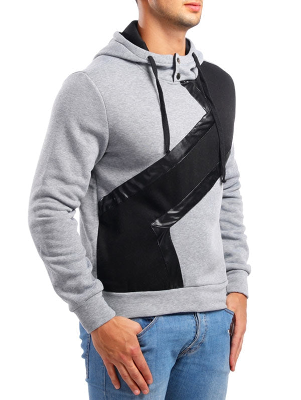 Faux Leather Patchwork Casual Hoodie