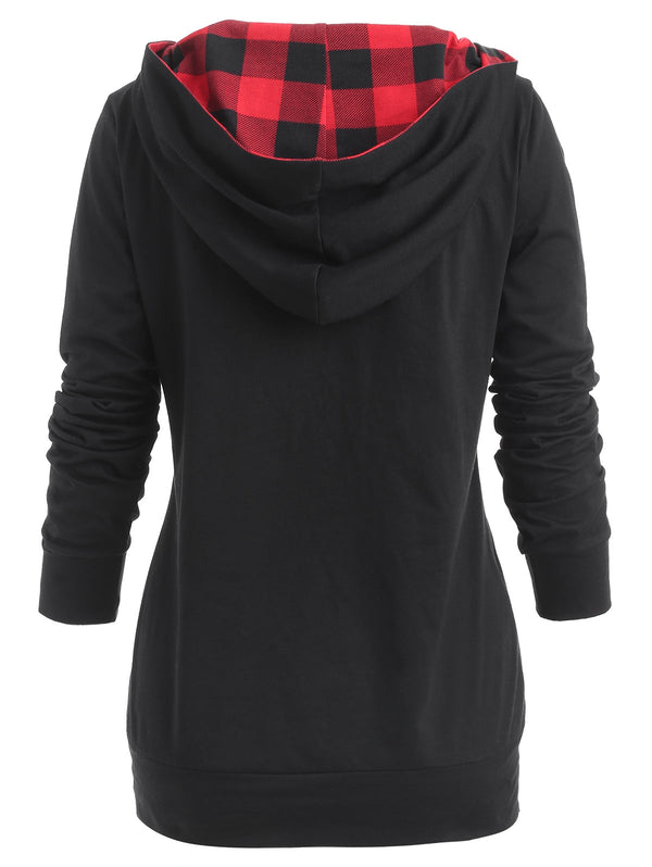 Tartan Print Button Fixed Hoodie