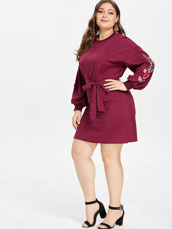 Plus Size Puff Sleeve Embroidered Dress