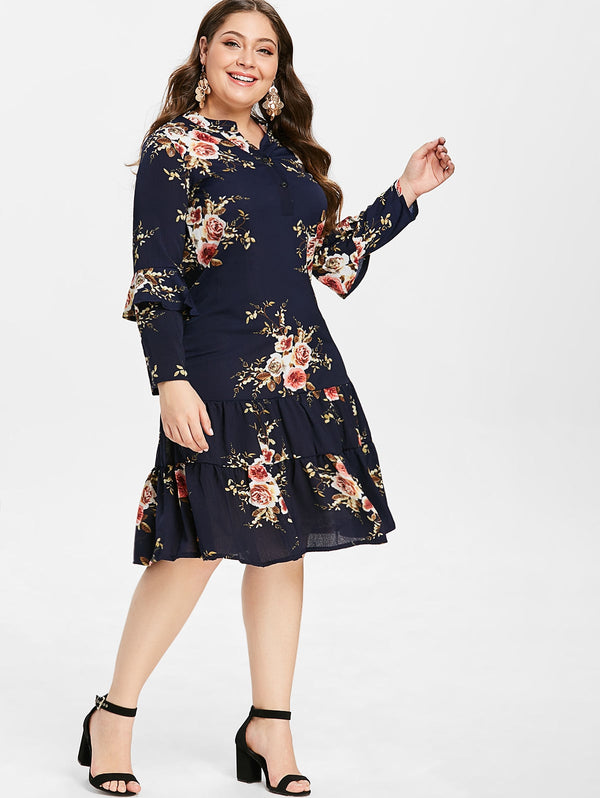 Plus Size Floral Print Bell Sleeve Flounced Dress