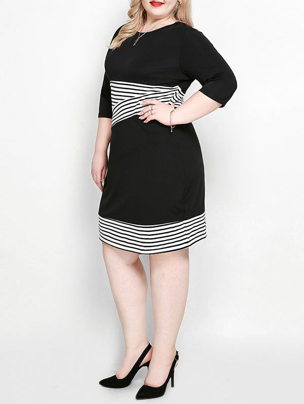 Plus Size Striped Sheath Dress
