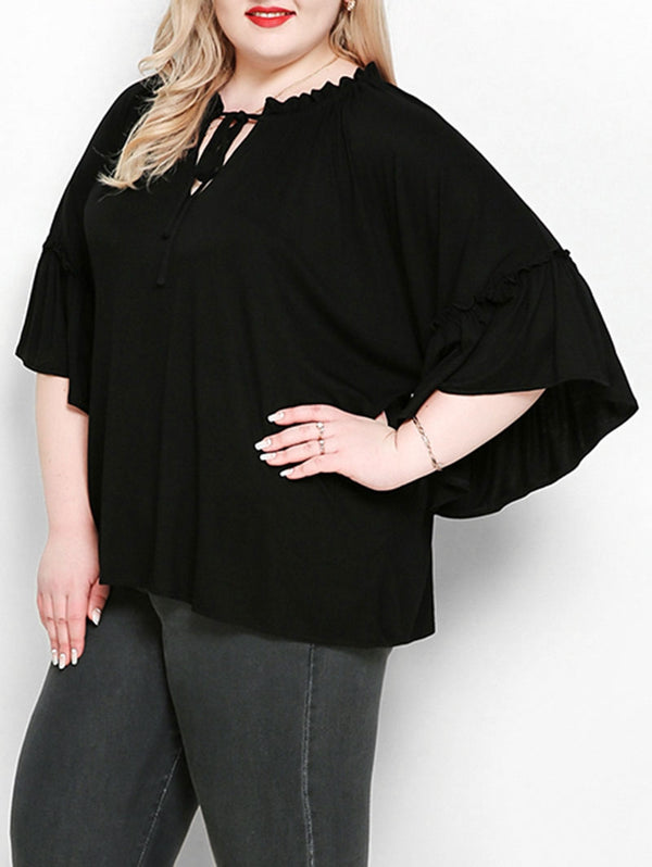 Plus Size Keyhole Bell Sleeve Blouse