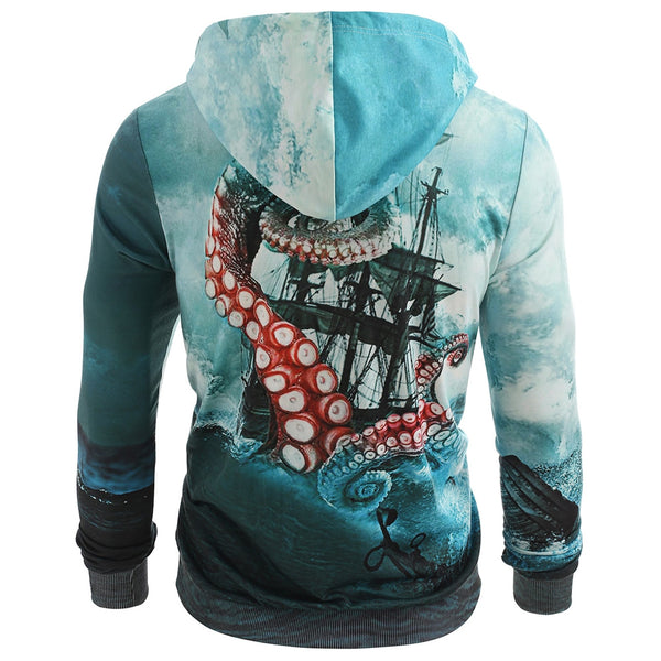 Vintage Sea Sailboat Octopus Print Loose Pocket Hoodie