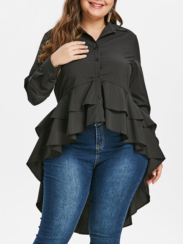 Plus Size Flounced High Low Blouse